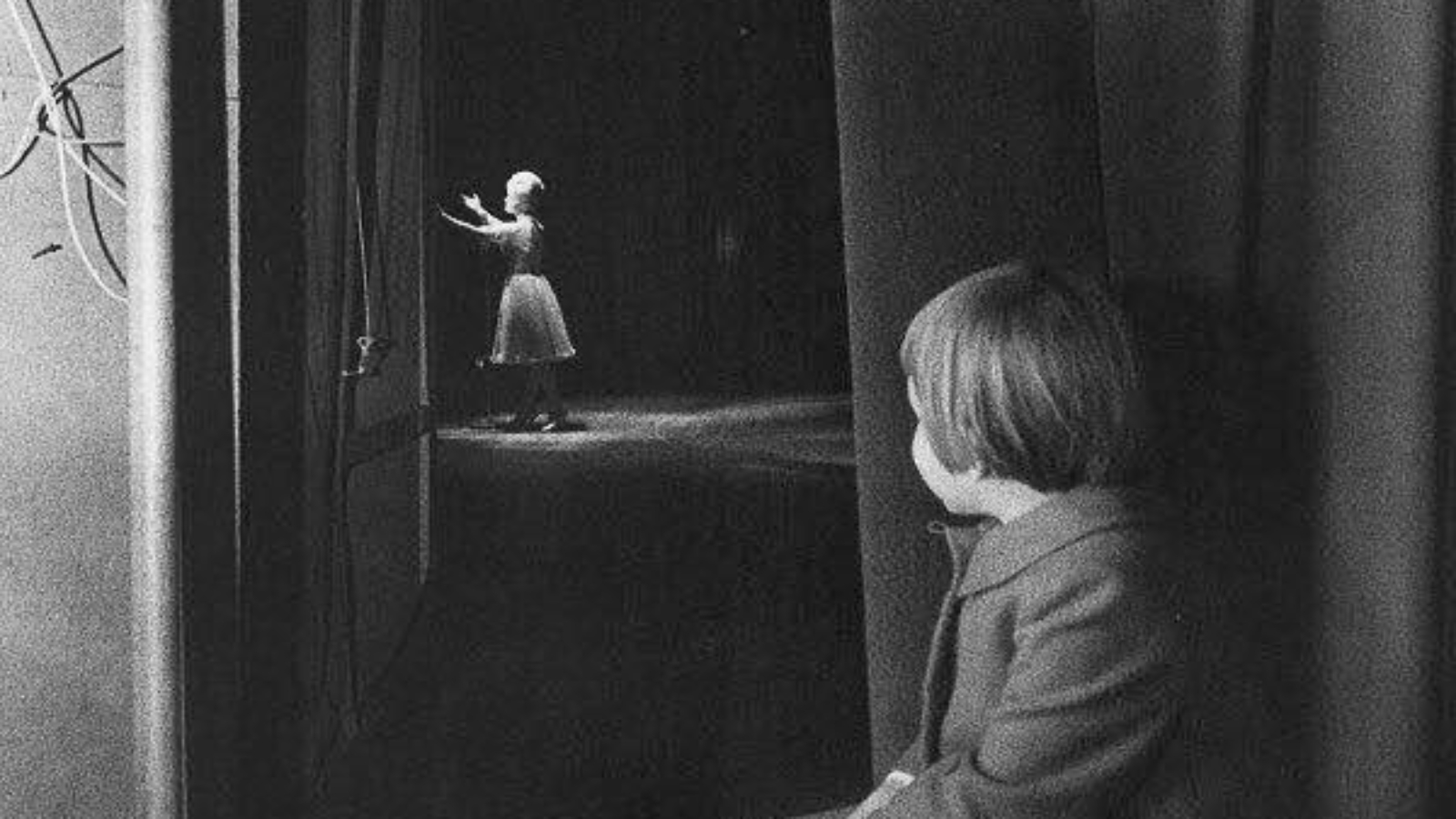 A very young Carrie Fisher watches her mom, Debbie Reynolds, on stage at the Riviera Hotel in Las Vegas, 1963 (photographer unknown).