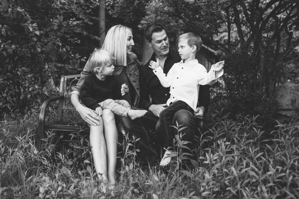 Young family, Lake Winnipesaukee. Black & white photo, family photographers, Birch Blaze Studios. Wolfeboro, NH.
