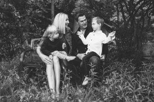 Young family, Lake Winnipesaukee. Black & white photo, family photographers, Birch Blaze Studios. Wolfeboro, NH.