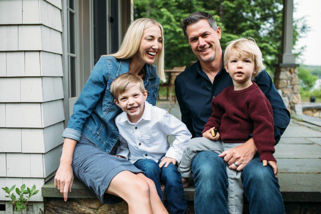 Young family laughing, Lake Winnipesaukee family photographers, Birch Blaze Studios. Wolfeboro, NH.