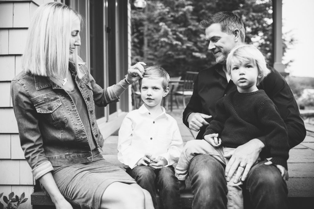 Black & White photo, young family, Lake Winnipesaukee family photographers, Birch Blaze Studios. Wolfeboro, NH.