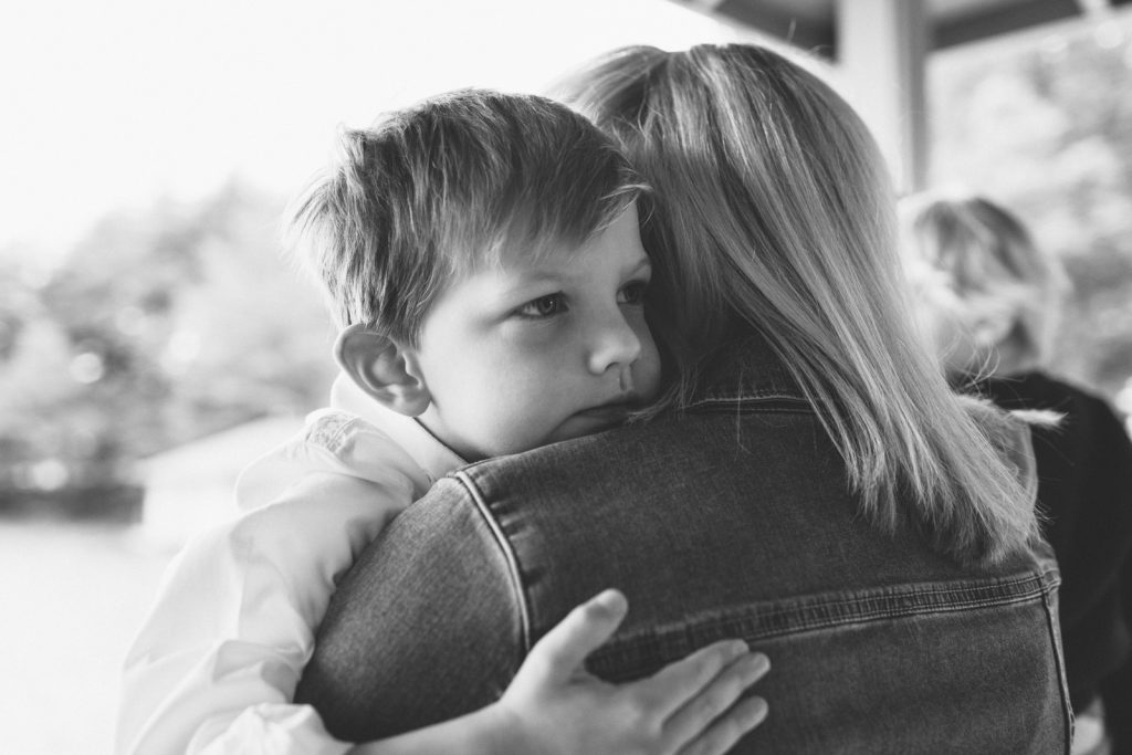 Black & white photo, little boy with his Mother. Family lifestyle photography by Birch Blaze.