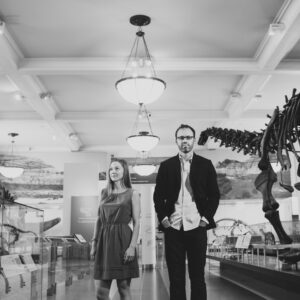 Birchblaze in NYC, couples' portrait at the American Museum of Natural History. Dinosaur Portrait!