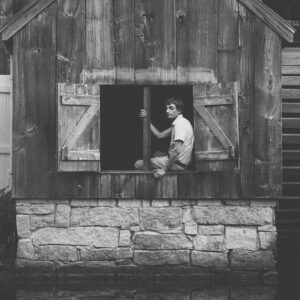 Southern Maine senior photography by Birch Blaze Studios. A young man's senior portrait in Maine. Black & White photo.